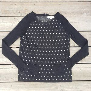 Ann Taylor Loft knit polka dot ribbed sweater
